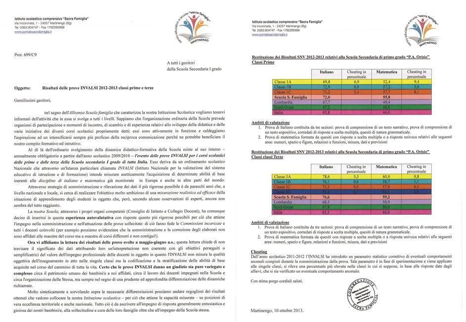 Risultati delle prove INVALSI 2012- 2013 classi prime e terze.